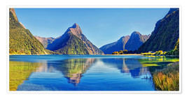 Premium poster  Milford Sound Mitre Peak Reflection New Zealand - Michael Rucker