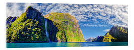 Acrylic print  Milford Sound with Stirling Falls New Zealand - Michael Rucker