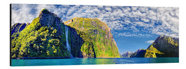 Aluminium print  Milford Sound with Stirling Falls New Zealand - Michael Rucker