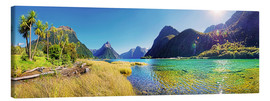 Canvas print  Milford Sound with palms New Zealand - Michael Rucker