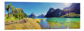 Foam board print  Milford Sound with palms New Zealand - Michael Rucker