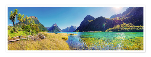 Premium poster Milford Sound with palms New Zealand