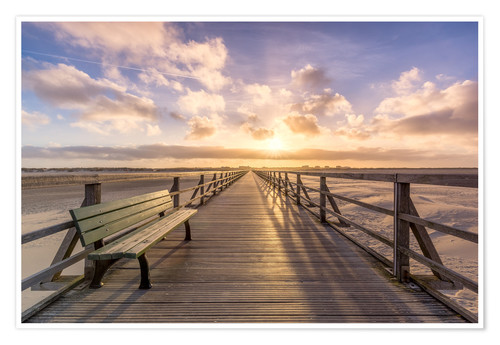 Premium poster Beach path in St. Peter Ording North Sea