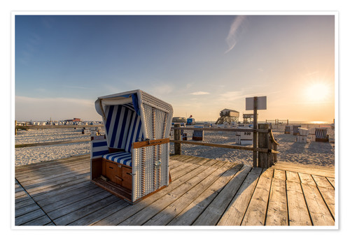 Premium poster Beach chair holiday on the North Sea coast