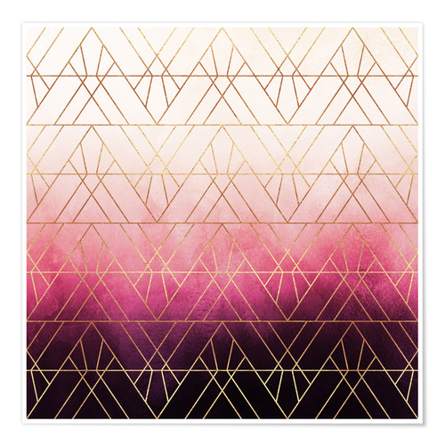Premium poster Pink Ombre Triangles