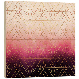 Wood print  Pink Ombre Triangles - Elisabeth Fredriksson