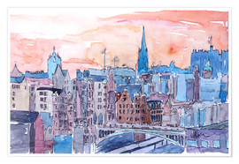 Premium poster  Edinburgh Sunset Over Old Town Scotland - M. Bleichner