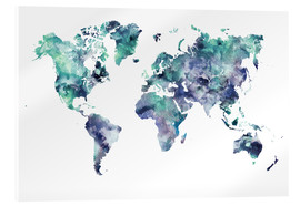 Acrylic print  World Map Aquamarine - Dani Jay Designs