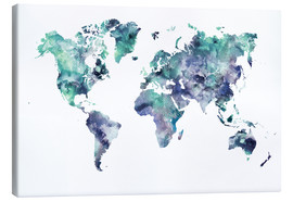 Canvas print  World Map Aquamarine - Dani Jay Designs