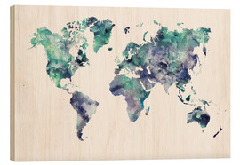 Wood  World Map Aquamarine - Dani Wijeyesinghe
