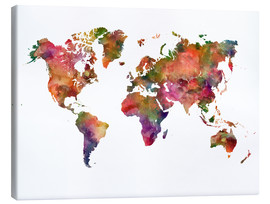 Canvas print  Colourful world map - Dani Wijeyesinghe