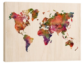 Wood print  Colourful world map - Dani Jay Designs