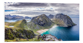 Foam board print  Kvalvika Bay on Lofoten Islands, Norway - Sascha Kilmer