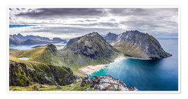 Premium poster  Kvalvika Bay on Lofoten Islands, Norway - Sascha Kilmer