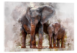 Acrylic glass  elephants - Peter Roder