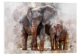 Foam board print  Elephants - Peter Roder