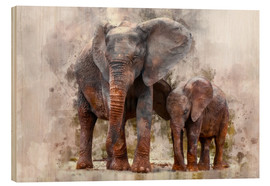 Wood print  Elephants - Peter Roder