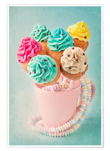 Premium poster Colorful cupcake pops on blue background