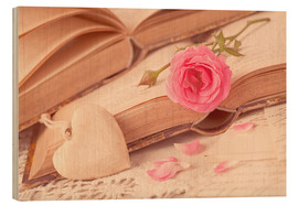 Wood print  Rose and the old books - Elena Schweitzer