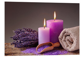 Foam board print  Spa still life with candles and lavender - Elena Schweitzer