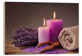 Wood  Spa still life with candles and lavender - Elena Schweitzer