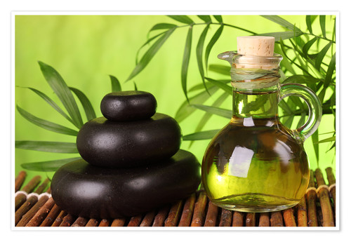 Premium poster Spa still life with hot stones and essential oil