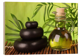 Wood print  Spa still life with hot stones and essential oil - Elena Schweitzer
