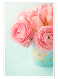 Premium poster Ranunculus and tulips
