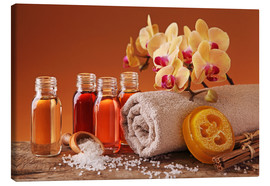 Canvas  Spa still life with essential oils and orchid - Elena Schweitzer