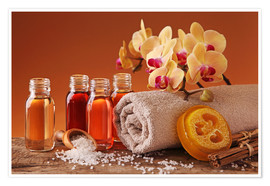 Premium poster Spa still life with essential oils and orchid