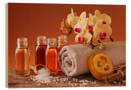 Wood  Spa still life with essential oils and orchid - Elena Schweitzer