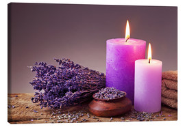 Canvas print  Spa still life with candles and lavender - Elena Schweitzer