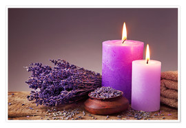 Premium poster Spa still life with candles and lavender