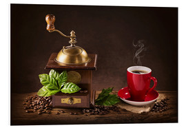 Foam board print  Coffee mill with a cup of coffee - Elena Schweitzer