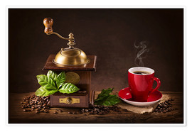 Poster Coffee mill with beans and green leaves and a cup of coffee