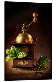 Acrylic print  Coffee mill with beans and green leaves and a cup of coffee - Elena Schweitzer