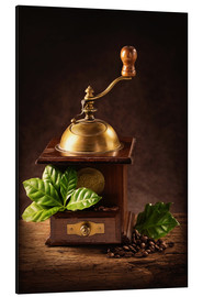 Aluminium print  Coffee mill with beans and green leaves and a cup of coffee - Elena Schweitzer