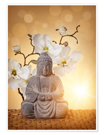 Premium poster Buddha statue and orchid