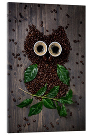 Acrylic glass  Coffee owl from beans, leaves and cups - Elena Schweitzer