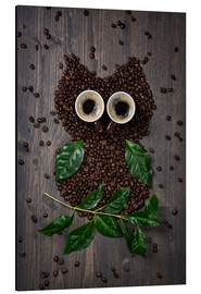 Alu-Dibond  Coffee owl from beans, leaves and cups - Elena Schweitzer