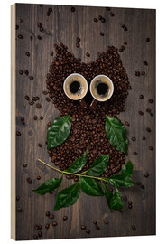 Wood  Coffee owl from beans, leaves and cups - Elena Schweitzer