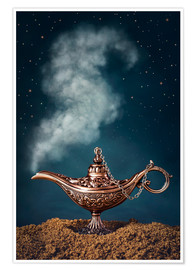 Premium poster Aladdin magic lamp with smoke