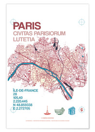 Premium poster Paris city map