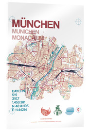 Acrylic glass  Munich city map - campus graphics