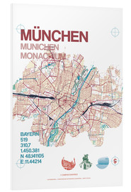 Foam board print  Munich city map - campus graphics