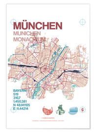 Premium poster Munich city map