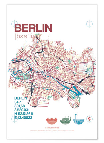 Premium poster Berlin city motif map