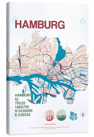Canvas print  Hamburg city motif map - campus graphics