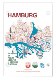 Premium poster  Hamburg city motif map - campus graphics