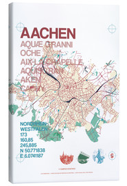 Canvas print  Aachen city motif map - campus graphics